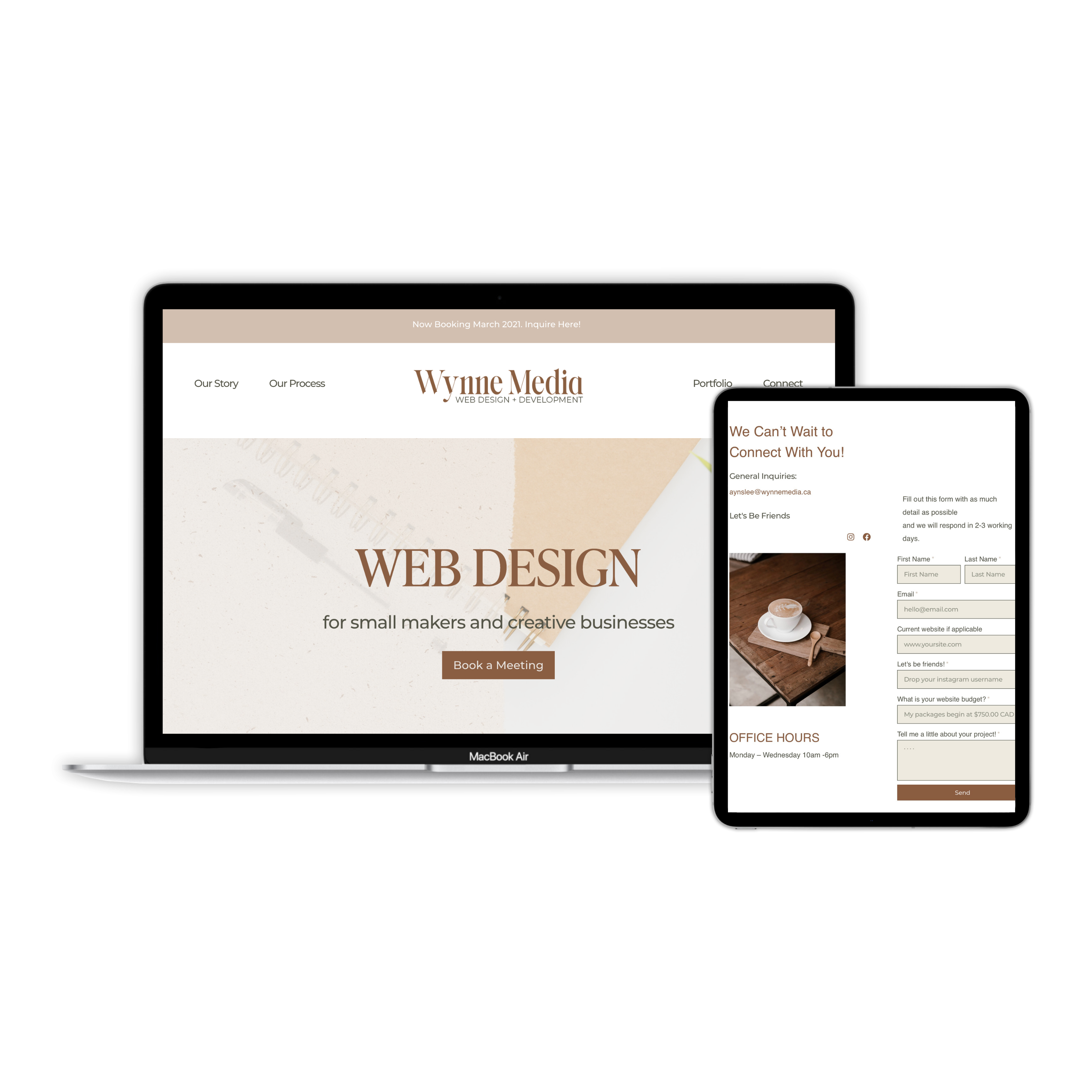 Wynne Media responsive website design shown on a macbook laptop and ipad.